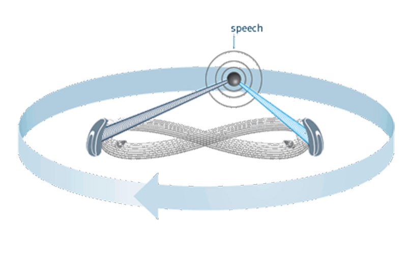 Diagram showing 360 directional sound